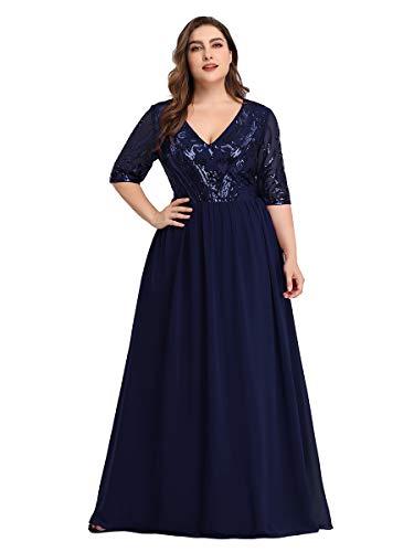 Ever-Pretty Damen Abendkleid A-Linie V Ausschnitt Pailletten Chiffon 3/4 Ärmel große Größe Navy Blau 54