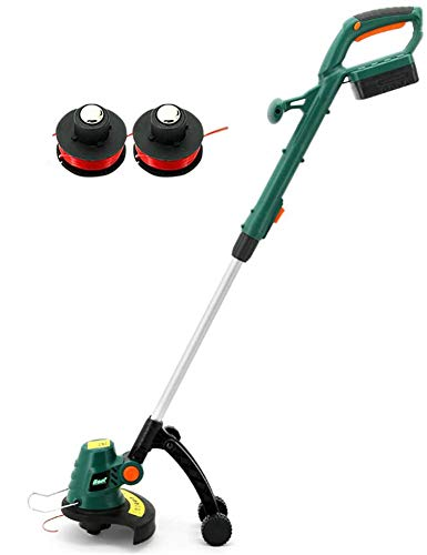 Check Out This JXH Cordless Grass Trimmer and Edger with Removable Auxiliary Wheels and 86-113Cm Tel...