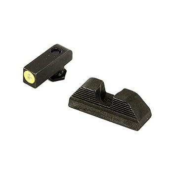 AmeriGlo Protector Sight fits Glock 42 & 43 Green Tritium Limegreenlumi Outline Front Black Serrated Round Notch Rear