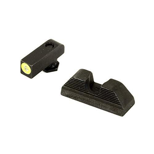AmeriGlo Protector, Sight, fits Glock 42 & 43, Green Tritium Limegreenlumi Outline Front Black Serrated Round Notch Rear