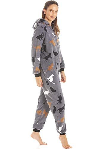 Camille Womens Animal Print Soft Fleece Onesies 10/12 Grey Cat