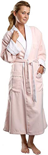 Plush Lined Microfiber Spa Robe - Unisex Luxury Hotel Bathrobe in Pink/Medium By Monarch/Cypress