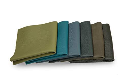Lederstücke - Variierende Lederbündel in verschiedenen grünen Farbtönen, Leder Zuschnitt, Extra Große Stücke, Hochwertig zum Nähen, Lederverarbeitung, Basteln, Beziehen, Deko, 1Kg - min. DIN A5