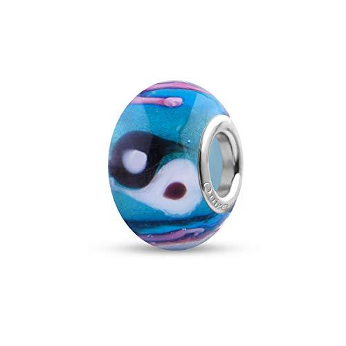 Preisvergleich Produktbild Quiges Glas Bead Perle für Damen Handgemacht Blau mit Yin-Yang und Rosa Linien