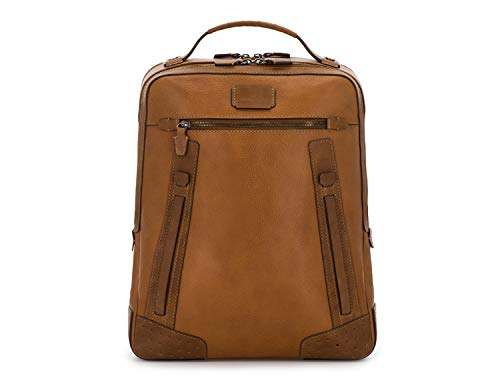 """SCHARLAU – Mochila de Piel Natural, Personalizada con tu Nombre, con Compartimento para Portátil de 15,6"""" Pulgadas, Diseño Rústico, Unisex, 31 x 39 x 8 cm en Color Camel"""