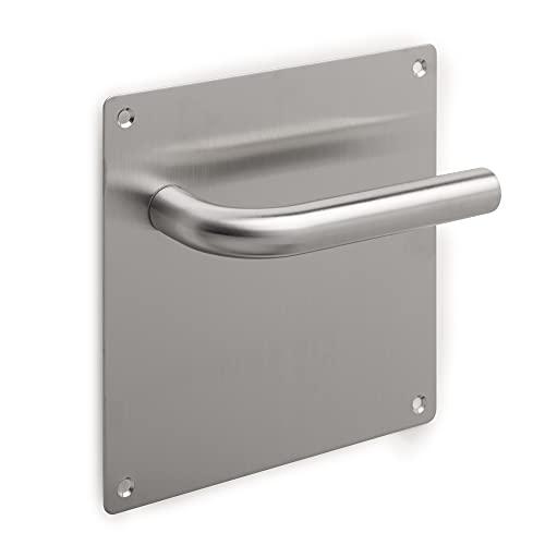 Emuca - Juego de manillas en L con placa de 17x17cm para puertas de interior, Acero inoxidable, Niquel satinado