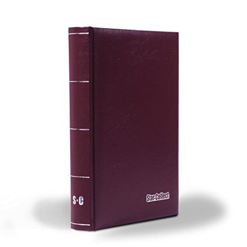 Star Collect (700048 Briefmarken-Einsteckbuch in Rot - 60 Schwarze Seiten und Pergamin-Zwischenblätter - unwattiert
