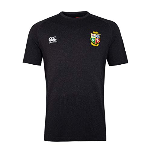 Canterbury of New Zealand Herren Rugby-T-Shirt British and Irish Lions, nahtloses Trainings-T-Shirt, geschwärzt meliert, 2XL