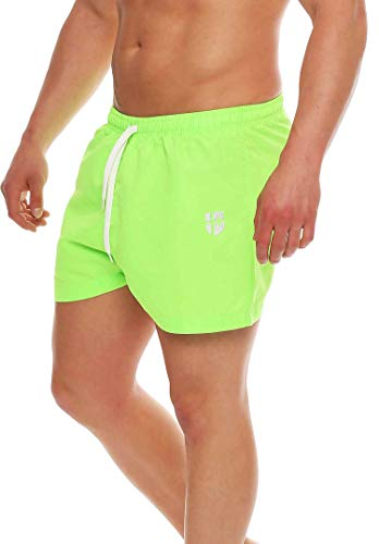 Gennadi Hoppe Herren Badeshorts kurz Badehose Strand Shorts Boardshorts,neon grün,Medium