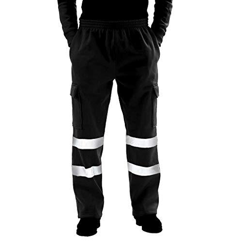 beautyjourney Pantalones Deportivos Reflectantes para Hombre Ropa de Calle al Aire Libre Pantalones de Trabajo Pantalones Casuales Pantalones de chándal de Cintura elástica Pantalones de Fitness