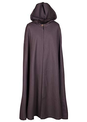Mittelalter Umhang mit Kapuze Damen Herren Kostüm Kleidung LARP Wikinger (Braun)