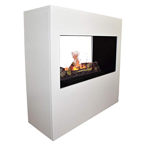 GLOW FIRE Goethe Elektrokamin Opti Myst 3D Wasserdampf Feuer, elektrischer Raumteiler Standkamin mit Fernbedienung, Tunnel Kamin | Regelbarer Flammeneffekt, 100 cm, Weiß (Opti-myst Cassette 600)