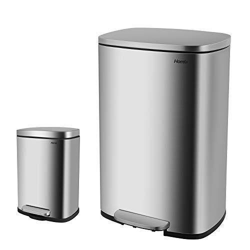 Homfa Mülleimer Küchenabfalleimer aus Edelstahl Müllbehälter mit Deckel und innerem Eimer Abfallbehälter Tretmülleimer für Büro Ausstellungshalle (50+5L)