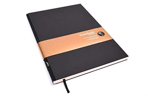Notizbuch A4 hardcover | Schwarz | Skizzenbuch A5 blanko | Journal A5 | nachhaltige Notizbücher | Öko-look Natur-Design