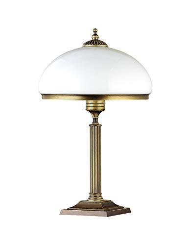 Stilvolle Tischleuchte MARLOW Glas Schirm 50cm hoch in Messing antik Weiß Jugendstil Nachttischlampe