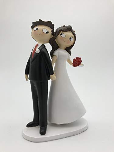 Figura para tarta pareja de novios pelo moreno de la mano, 21,5 cm, color blanco roto
