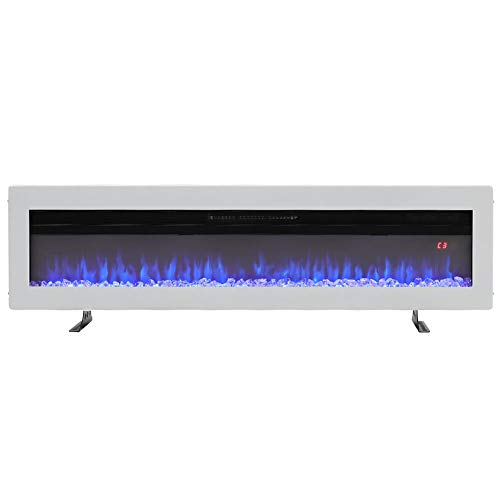 DKIEI Electric Fireplace 50inch Wall Mounted Insert Electric Fire with Remote Control, 9 Colours Flame,900W/ 1800W Heater with Timer 127x14.6x32.7cm White
