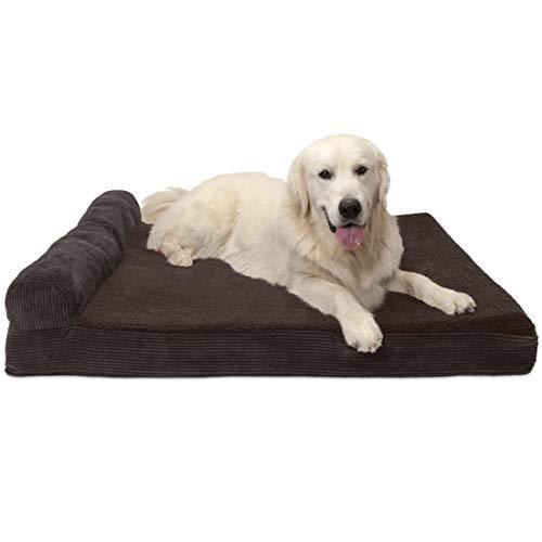 Furhaven Pet Espresso Deluxe Recamiere Cooling Gel Top Sofa Pet Bett