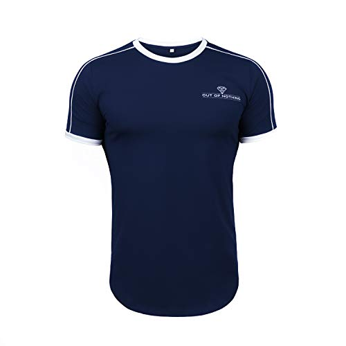 T-Shirt, Fitness und Funktionsbekleidung, Gym & Running, Casual Look & Streetwear (Dunkelblau, Medium)