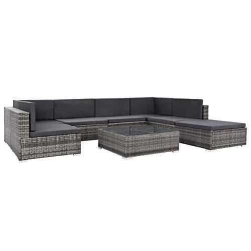 Tidyard Garten-Sofagarnitur 23-TLG.Gartenm?bel Lounge Set Sitzgruppe Gartengarnitur Gartenset Rattan Polyrattan Sitzgruppe Set Grau