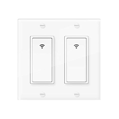 Smart Light Switch, Vaticas Smartlife/Tuya App Wireless WiFi Wall Switch 2 Gang, Compatible with Alexa,Google Home and IFTTT, With Remote Control and Timer, No Hub required, Need Neutral Wire