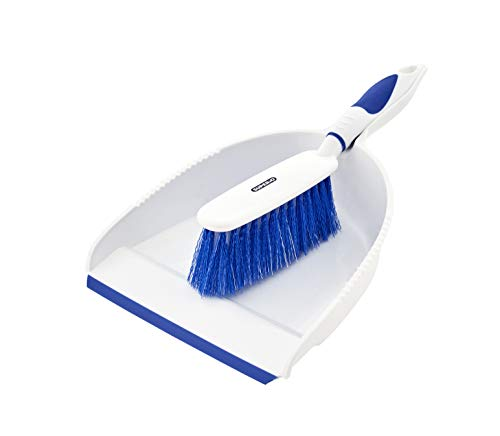 Dustpan and Brush Set, Hand Broom with Ergonomic Grip Handle - Rubber Edge for Easy Dirt Pickup, Durable Material - Hand Brush Helps You Keep Clean Everywhere. by Superio