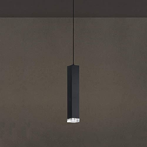 Araña creativa 1-ligero LED Cilindro Tubo Cuadrado Colgante Lámparas Moderno Aluminio Largo Cylíndrico Cristal Techo Araña Nórdica Personalidad Creativa Restaurante Cocina Isla Decoración Suspensión L