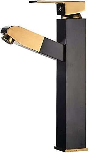 FDABFU Elegante Grifo Extensible Negro para Lavabo de baño Alto Grifo Mezclador con Ducha de Mano extraíble Grifo Mezclador Monomando para baño Latón Macizo