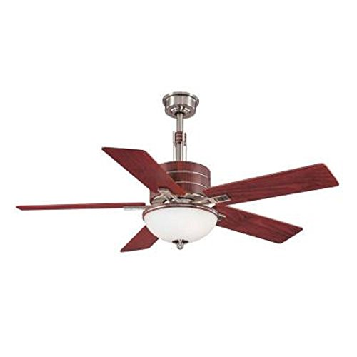 Hampton Bay Carlsbad 52 Inch Indoor Brushed Nickel Ceiling Fan with Light Kit and Remote Control