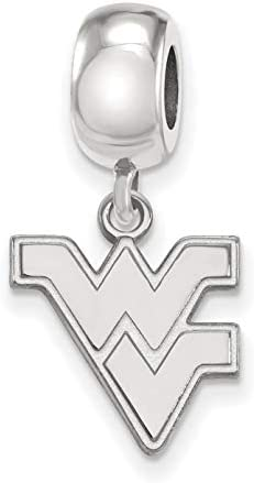 West Virginia University Mountaineers Flying WV Letters Dangle Charm Bead in Sterling Silver product image