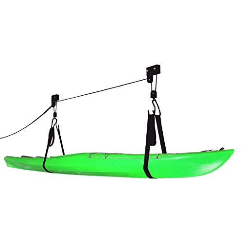 Bike Lane Products Kayak Hoist Quality Garage Storage Canoe Lift with 125 lb Capacity Even Works as Ladder Lift Premium Quality