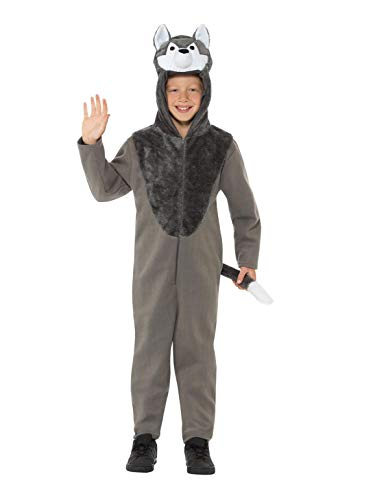 Smiffys 49699L Wolf kostuum, Unisex kinderen, Grijs