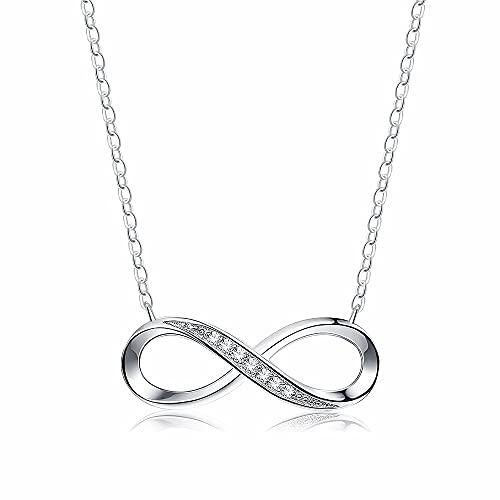 Collar digital de plata de ley 925 para mujer, collares de amor infinito de circón boutique, joyería de cumpleaños para niña y amiga