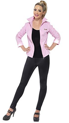 Smiffy's-25875L Miffy Licenciado Oficialmente Deluxe de Las Pink Ladies de Grease, Rosa, con Cazadora e Insignias, Color Rosado, L-EU Tamaño 44-46 (25875L)