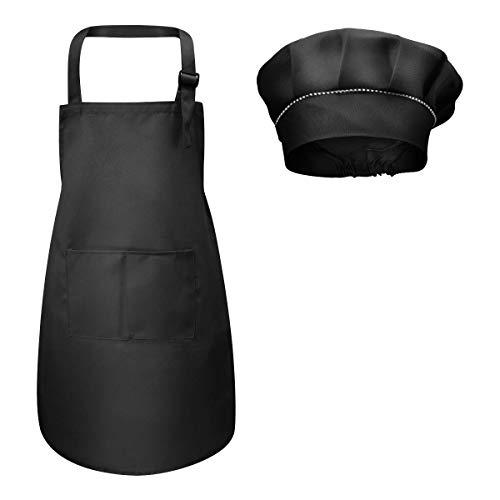 Fodlon Kinder Schürze und Kochmütze Set, Verstellbare Kinder Kochschürze Kinderschürze zum Bemalen Schürze Küchenschürze Bastelschürzen mit Taschen zum Kochen Backen Malen 4-12 Jahre alt ((Schwarz,L))
