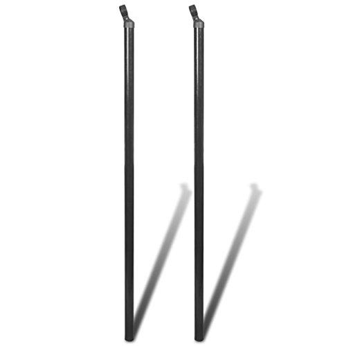 UnfadeMemory 2 Stück Set Spannstab Zaunpfosten Zaunpfahl mit Kappe und Pfostenklemme Durchmesser 34 mm für Maschendrahtzaun Grau (150cm)