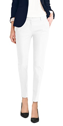 Hybrid & Company Super Comfy Womens Flat Front Stretch Trousers Pants PW31200TT White 20