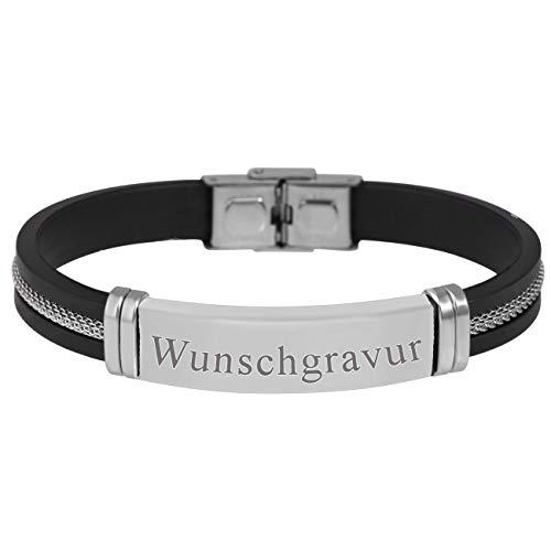 MyOwnName sportliches Armband mit gratis Gravur - Kautschuk Edelstahl