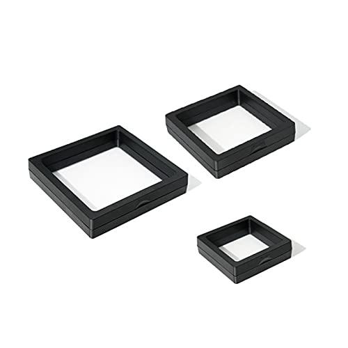 AHURGND Caja de joyería de joyería de 5 piezas, caja de exhibición de la suspensión de película delgada PE, caja de contenedor transparente, caja de contenedor 3D-flotante, caja de pantalla de plástic