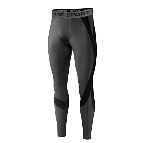 AMZSPORT Herren Kompressionshose Schnelltrocknende Laufhose Sporthose Atmungsaktive Trainingshose - Neue Generation Grau, XL