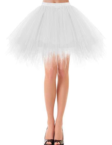 Tutu Damen Tüll Rock Tüllrock 50er 80er Kurz Ballet Tanzkleid Unterröcke Trachtenröcke Zubehör für Frauen Mädchen Kurz Minirock Ballett Tanzkleid Rockabilly White XL