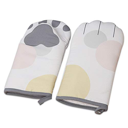 UrSIM Cat Paw Oven Mitts - Cute Animal Oven Mitts Heat Resistance - Cotton Cat Oven Gloves Set of Two for Baking & Cooking (Grey)