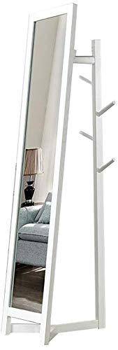 YLCJ Effen houten kledingrek Kleren hanger Vloerhanger Kleren rek gecombineerd met spiegel Verticale thuiskapstok (Kleur: Natuurlijk)
