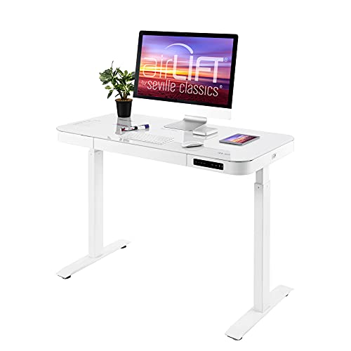 Seville Classics airLIFT Computer Desk Table, 47' Height Adjustable, Tempered White Glass