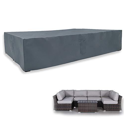 Yolaka - Juego de 7 fundas seccionales suaves para muebles de patio, para mesa y sillas al aire libre, color gris, impermeable, grande 126x64x28 pulgadas