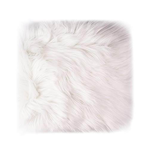 12'' Small Faux Fur Sheepskin Cushion Soft Plush Area Rug, White Photo Background for Small Product Desktop Photography, Jewelry, Watches, Cosmetics, Ornament, Nail Art, Display and Decor (Square)