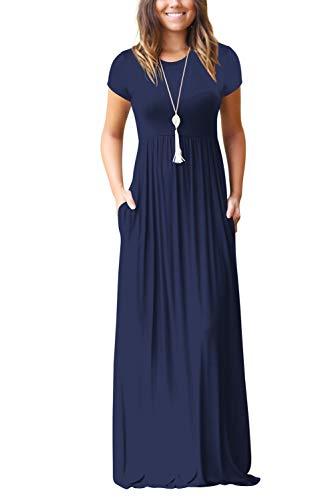 Damen Sommerkleider Kurzarm Lose Blumen Maxikleider Casual Lange Kleider mit Taschen, Marine-2, L
