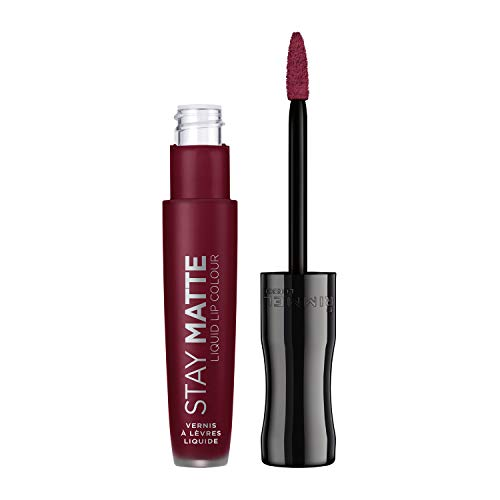 Rimmel London Stay Matte Rossetto Opaco Lunga Durata, Formula Liquida Waterproof No Transfer, 810 Plum This Show, 5.5 ml