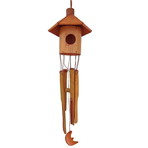 XQK Campanelli Eolici da Giardino in bambù Campanelli in Legno Feng Shui Casetta per Gli Uccelli...