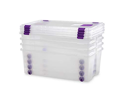 TODO HOGAR - Caja Plástico Almacenaje Grandes Multiusos con Ruedas - Medidas 730 x 405 x 265 - Capacidad de 62 litros (4)